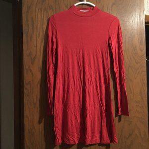Red Mock Neck Swing Dress   Forever 21
